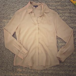 Pale pink silk blouse express small